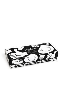 Happy Socks - Sosete Black and White (4-pack)