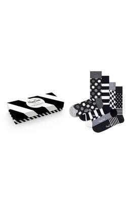 Happy Socks - Sosete Classic Black & White (4-pack)