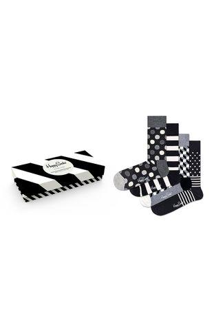 Happy Socks - Skarpetki Classic Black & White (4-pack)