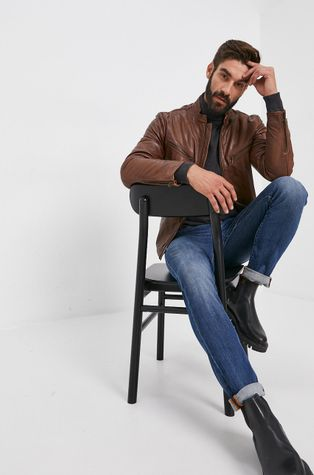 Pepe Jeans - Kožená bunda Peter
