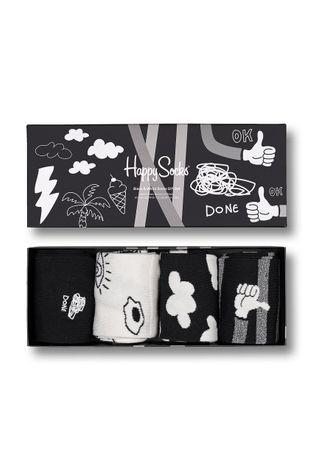 Happy Socks - Skarpetki Black And White (4-Pack)