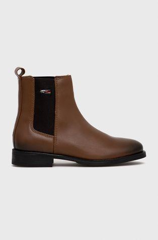 Tommy Jeans - Kožené topánky Chelsea