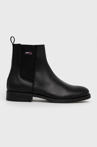 Tommy Jeans - Δερμάτινες μπότες τσέλσι