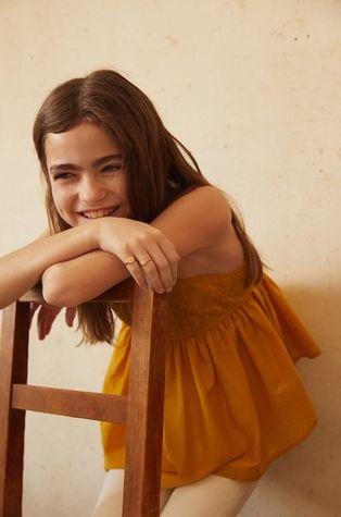 Mango Kids - Дитяча бавовняна блузка Maya 110-152 cm