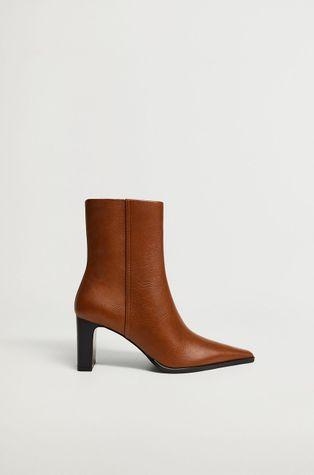 Mango - Kožené kotníkové boty CELIA