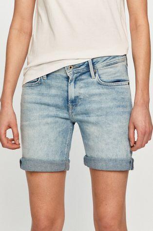 Pepe Jeans - Rifľové krátke nohavice Poppy