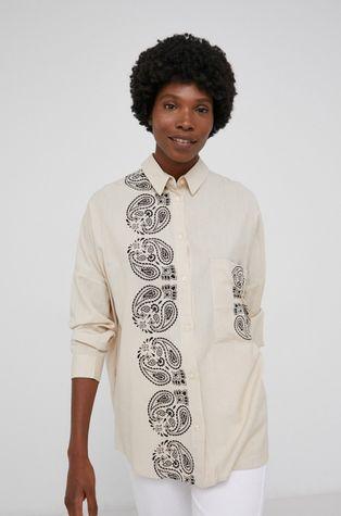 Answear Lab - Koszula z domieszką lnu