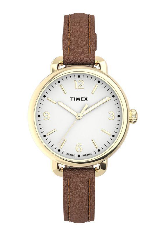 brązowy Timex - Zegarek TW2U60000 Damski