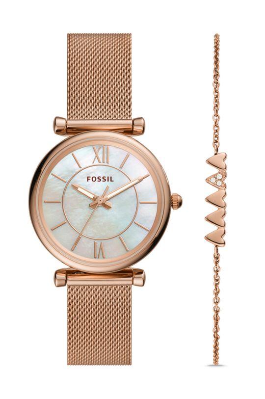 różowy FOSSIL - Zegarek i bransoletka ES5058SET Damski