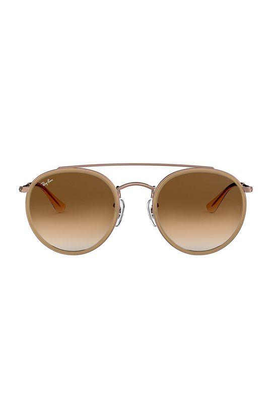 Ray-Ban - Brýle ROUND DOUBLE BRIDGE zlatohnědá