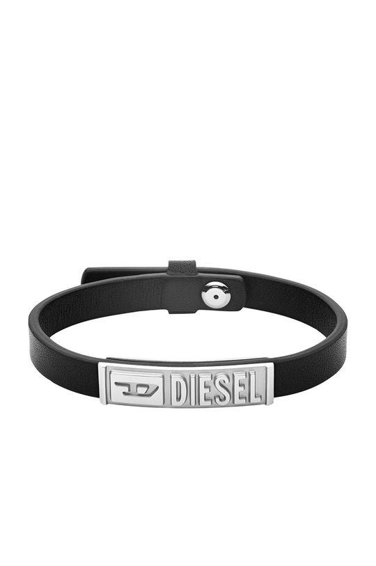 czarny Diesel - Bransoletka skórzana Męski