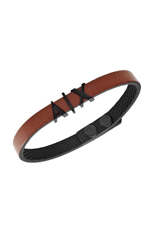 Armani Exchange - Кожаный браслет коричневый