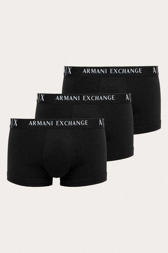 czarny Armani Exchange - Bokserki (3-pack) Męski