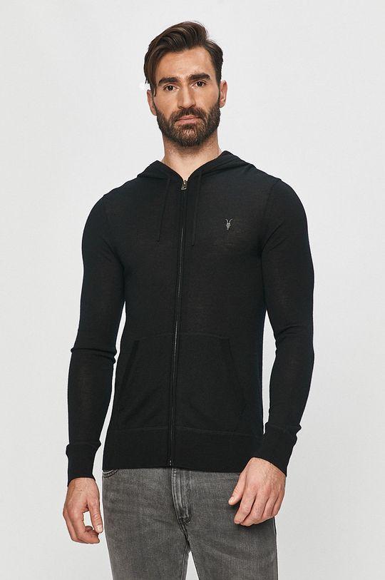 czarny AllSaints - Bluza Mode Merino Zip Hood Męski