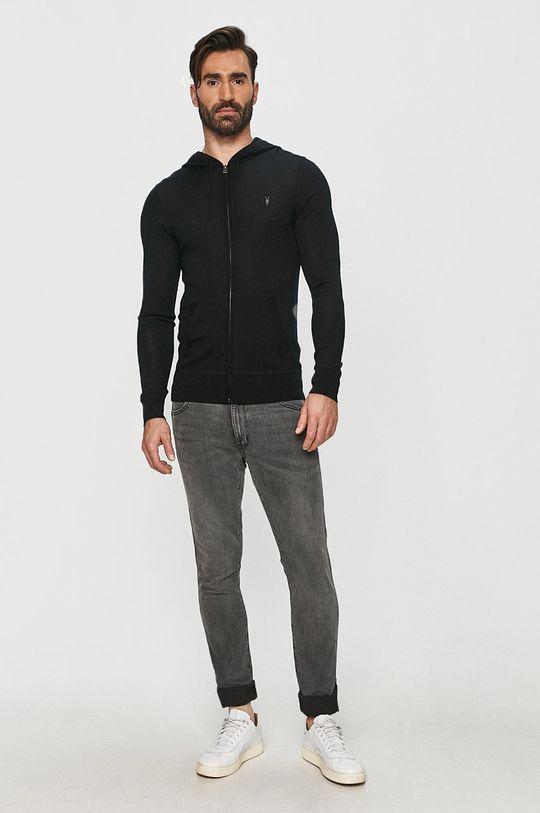 AllSaints - Bluza Mode Merino Zip Hood czarny