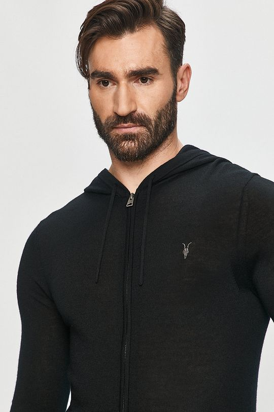 czarny AllSaints - Bluza Mode Merino Zip Hood