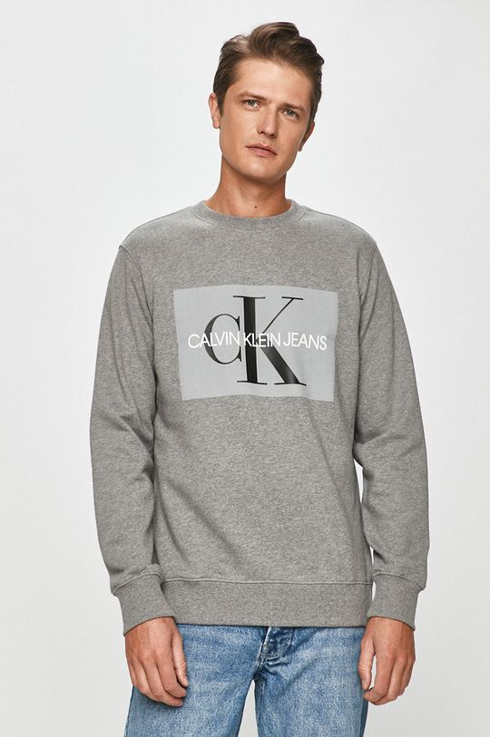 sivá Calvin Klein Jeans - Bavlnená mikina Pánsky