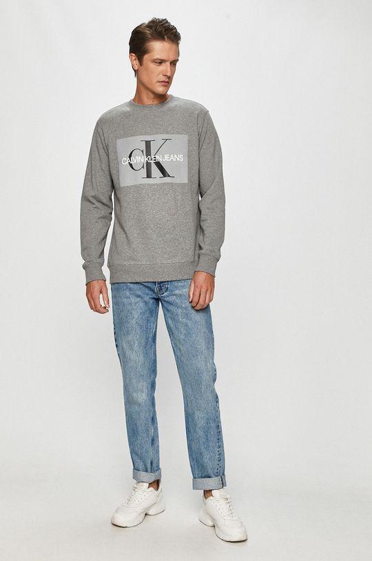 Calvin Klein Jeans - Bavlnená mikina sivá