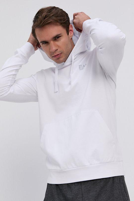 bílá EA7 Emporio Armani - Bavlněná mikina Pánský