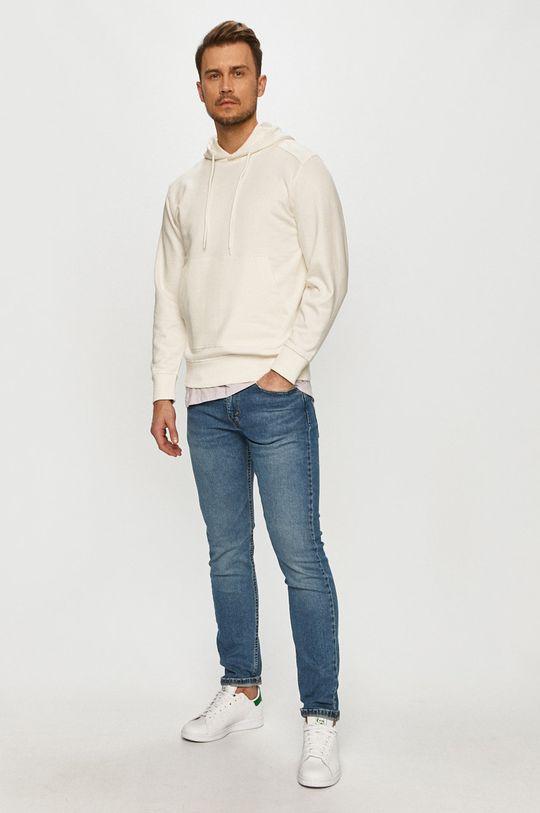 Selected - Bluza bawełniana kremowy