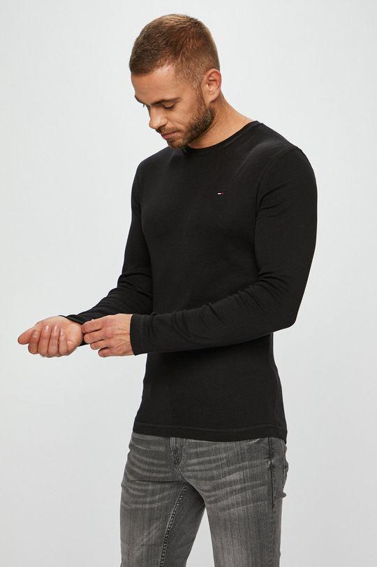 černá Tommy Jeans - Tričko s dlouhým rukávem Pánský