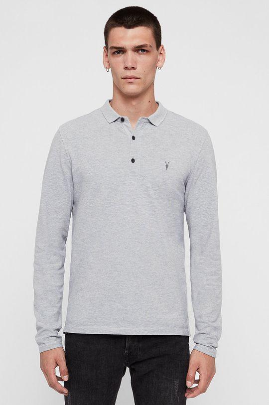 světle šedá AllSaints - Tričko s dlouhým rukávem Reform Polo Pánský