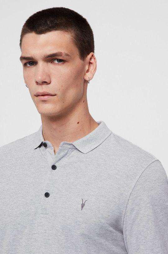 AllSaints - Tričko s dlouhým rukávem Reform Polo světle šedá