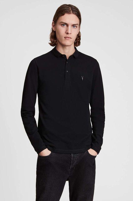 černá AllSaints - Tričko s dlouhým rukávem Reform Polo Pánský
