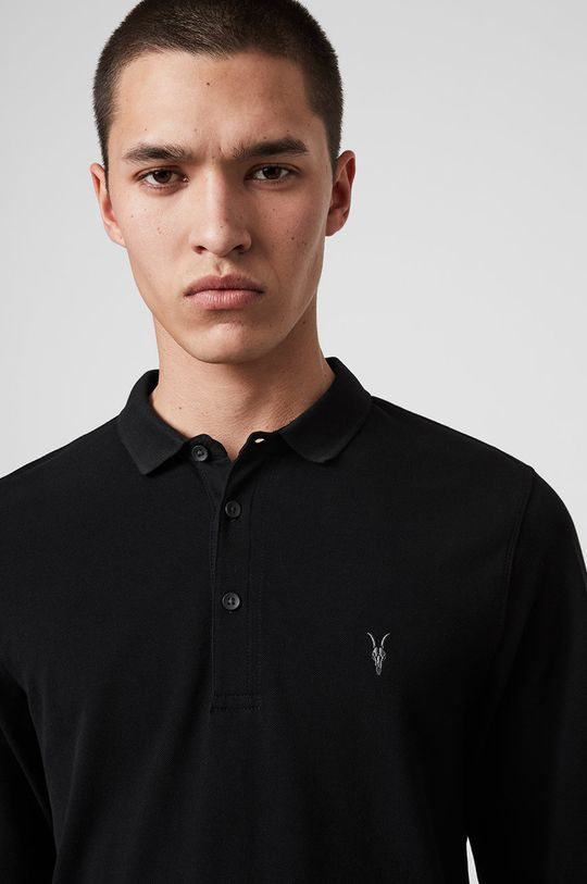AllSaints - Tričko s dlouhým rukávem Reform Polo černá