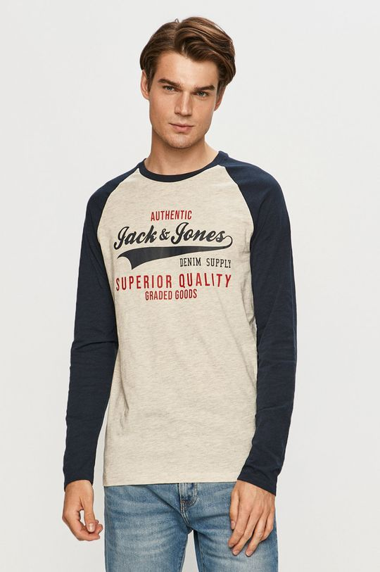 tmavomodrá Jack & Jones - Tričko s dlhým rúkavom Pánsky