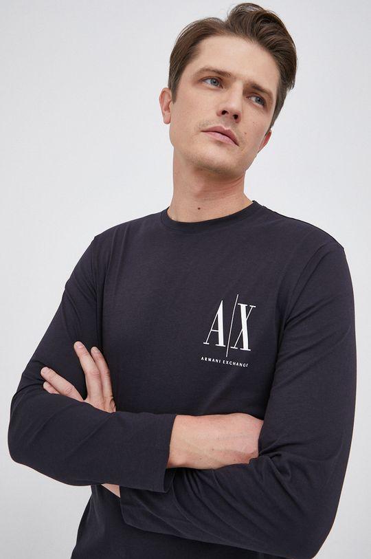 σκούρο μπλε Armani Exchange - Βαμβακερό πουκάμισο με μακριά μανίκια Ανδρικά