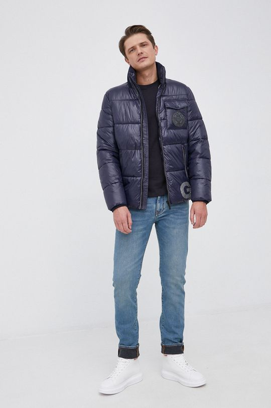 Armani Exchange - Βαμβακερό πουκάμισο με μακριά μανίκια σκούρο μπλε
