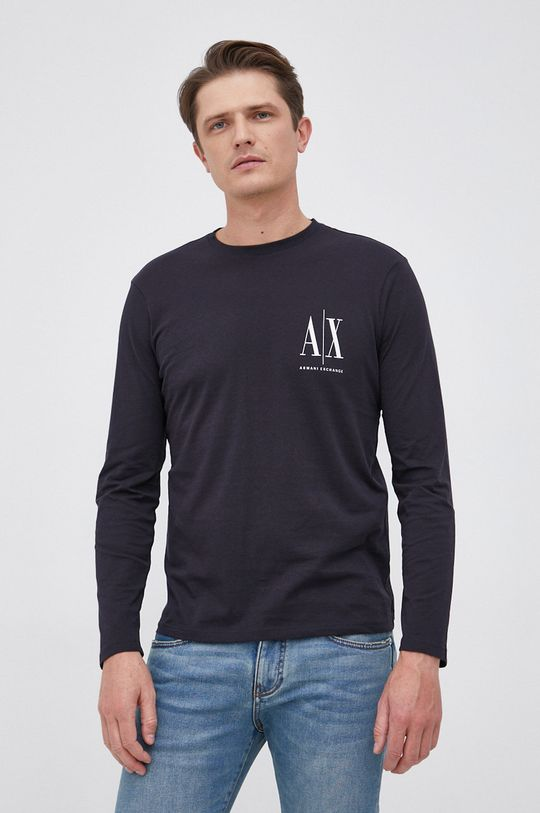 σκούρο μπλε Armani Exchange - Βαμβακερό πουκάμισο με μακριά μανίκια