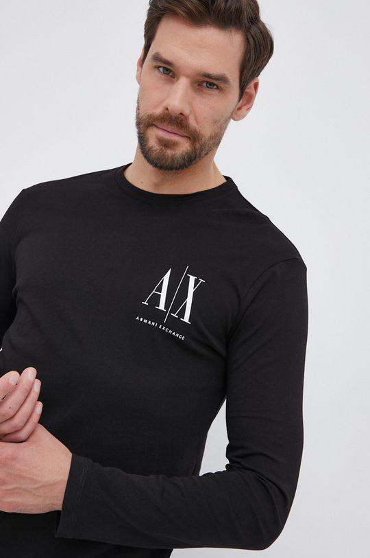 μαύρο Armani Exchange - Βαμβακερό πουκάμισο με μακριά μανίκια Ανδρικά