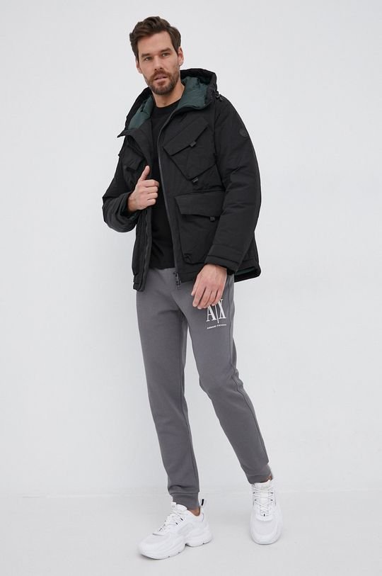Armani Exchange - Βαμβακερό πουκάμισο με μακριά μανίκια μαύρο