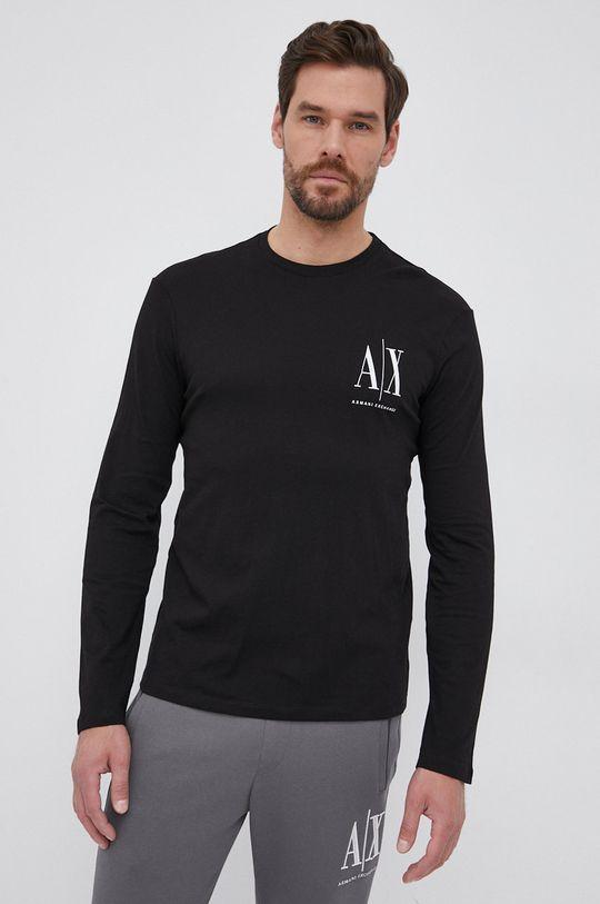 μαύρο Armani Exchange - Βαμβακερό πουκάμισο με μακριά μανίκια