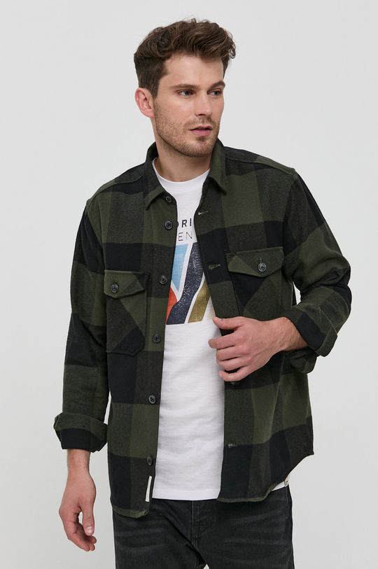 Only & Sons - Camasa din bumbac verde