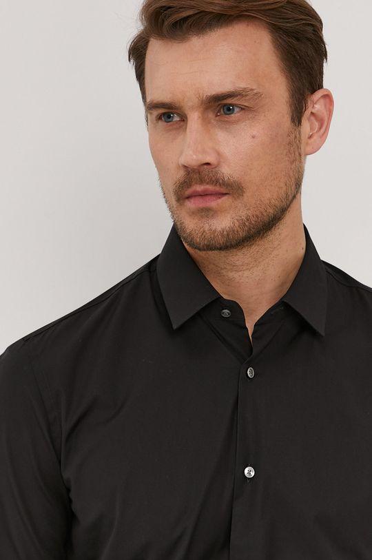 czarny Boss - Koszula bawełniana Męski