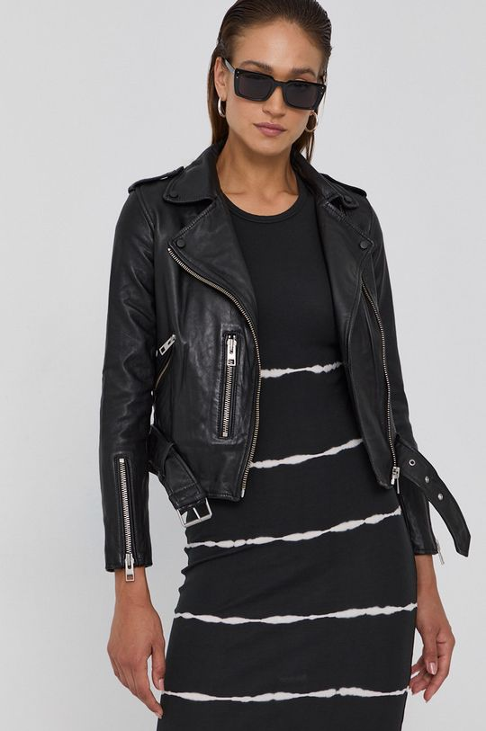 černá AllSaints - Kožená bunda Balfern Biker Dámský