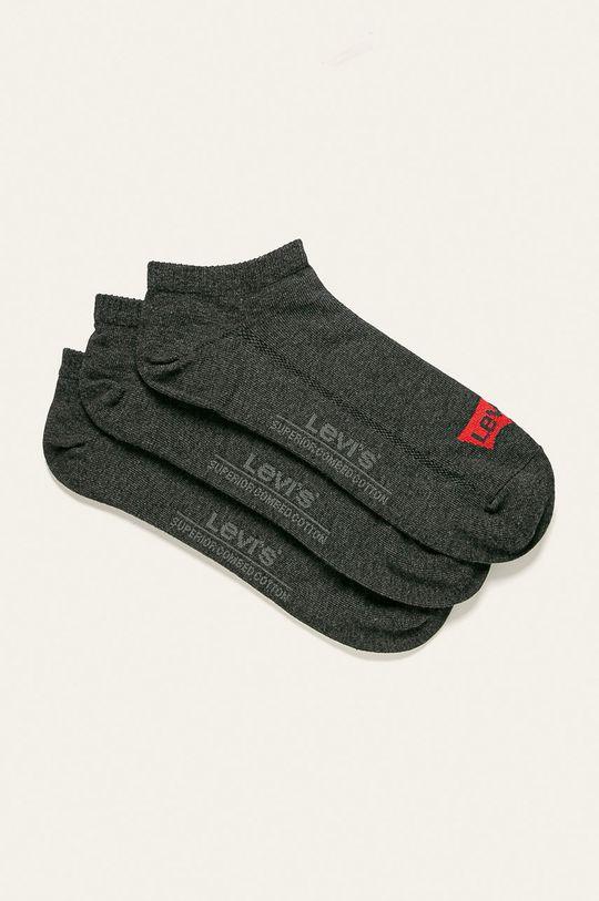 grafitová Levi's - Členkové ponožky (3 pak) Pánsky
