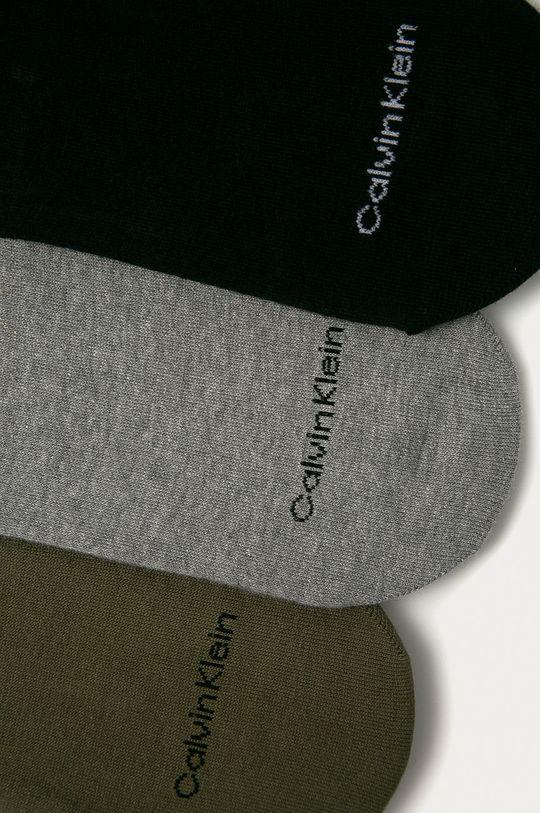 Calvin Klein - Kotníkové ponožky (3-pack) olivová