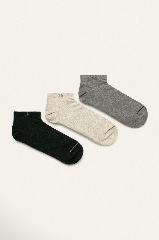 šedá Calvin Klein - Kotníkové ponožky (3-pack) Pánský