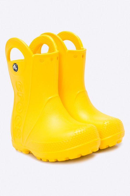 Crocs - Kalosze dziecięce Handle Rain żółty