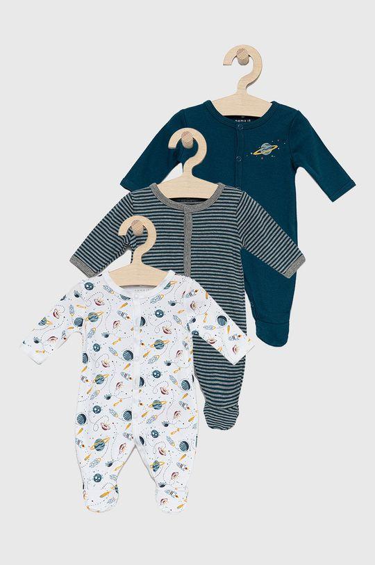 albastru metalizat Name it - Costum bebe (3-pack) De băieți