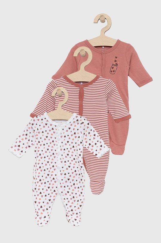 ružovo-červená Name it - Dupačky pre bábätká (3-pak) Dievčenský