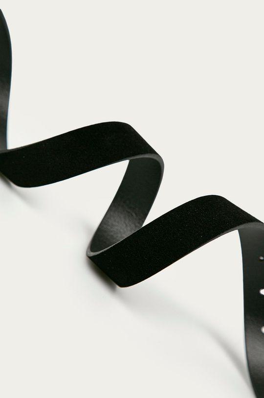 Pieces - Pasek skórzany czarny