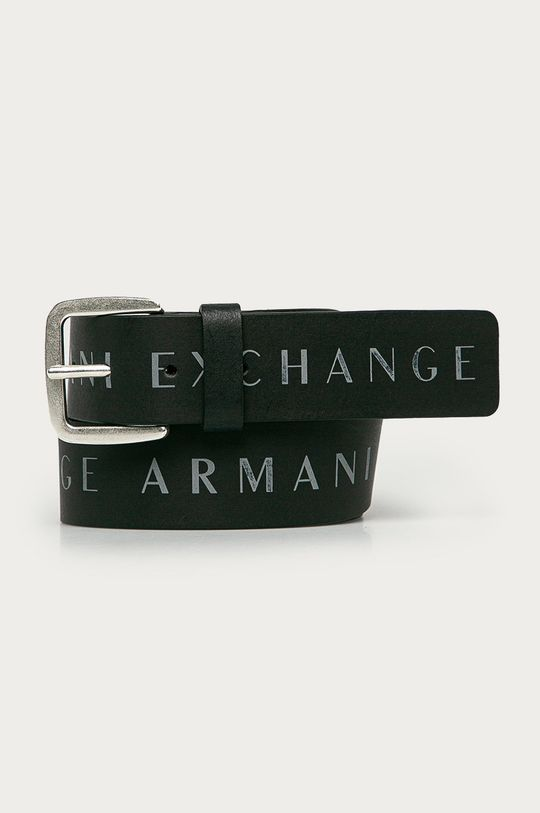 czarny Armani Exchange - Pasek skórzany Męski
