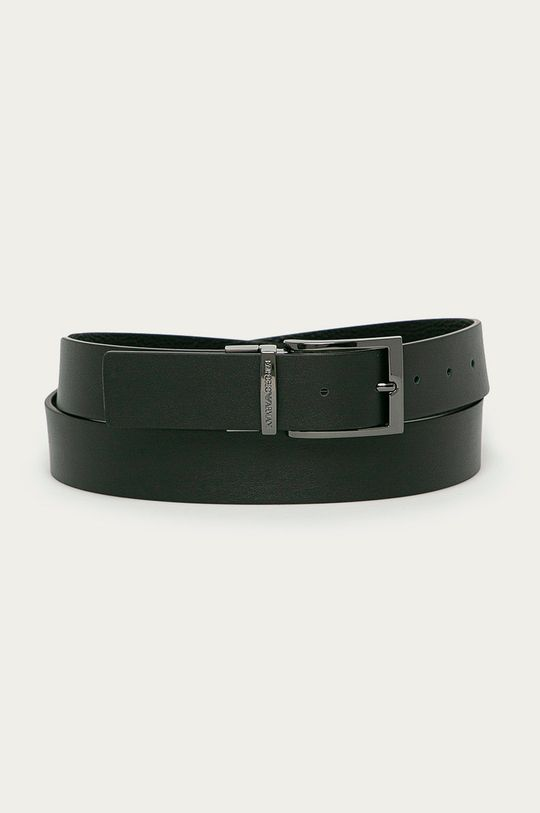 čierna Emporio Armani - Obojstranný kožený opasok Pánsky