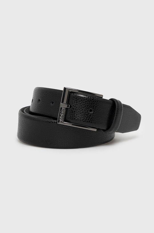 černá Boss - Kožený pásek Pánský
