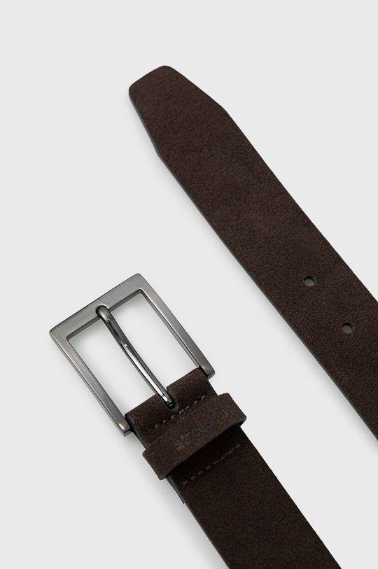 Strellson - Pasek skórzany ciemny brązowy